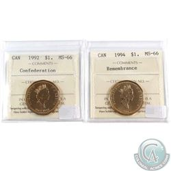 1992 Confederation & 1994 Remembrance Canada Loon $1 ICCS Certified MS-66. 2pcs