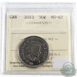 2015 Canada 50-cent ICCS Certified MS-67
