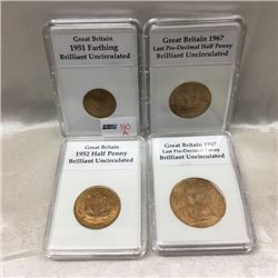 Great Britain BU Coins (4) Capsules:  (CHOICE of 2 Sets)