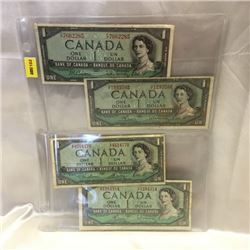 Canada $1 Bills 1954 (4)