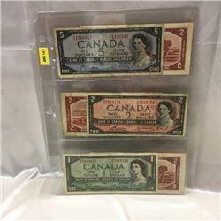 Canada Bills 1954 (6) $5, $2, $1