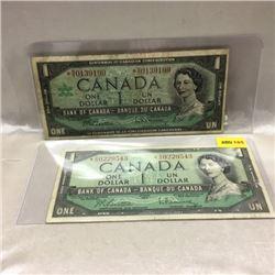 Canada $1 Bills (2) *1954 & *1967