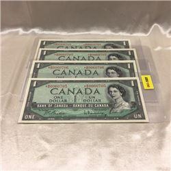 Canada $1 Bills *1954 (4) Consecutive