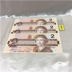 Canada $2 Bills 1986 (3) Consecutive