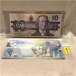Canada Bills (2) $10 & $5