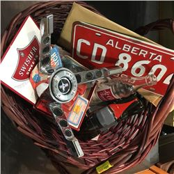 Basket Combo : 1960 Alberta Lic Plate & Mustang Steering Wheel Insert & Tire Patches, etc