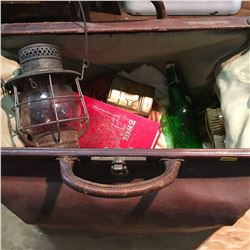 Mans Vintage Leather Bag w/Contents: CTR Lamp, Over the Years Book, Bottle, etc