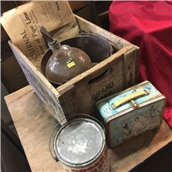America Dry Wood Crate Lot: Rogers Syrup Tin, Glass Jug, Pail, Snow White Lunch Box