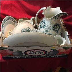 Box Lot: Blue & White Chinaware
