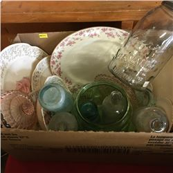 Box Lot: Pink & White Chinaware w/Jars, Bottles, Insulator, etc