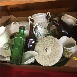 Box Lot: Green & White Chinaware, Bottles, Quick Cooker, Bell, etc