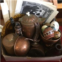 Box Lot: Copper, Brass, Eggs & Ephemera, etc