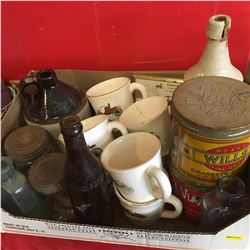 Box Lot: Quaker Oats Promo Mugs, Tobacco Tins, Crock Jug, Ginger Shandy Crock Bottle, Thermometer, J