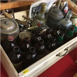 Tray Lot: Stubby Beer Bottles, Cork Screws, Radio, Clock, Straight Razor, Ice Box, etc