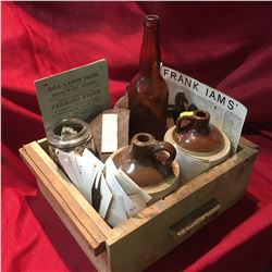 Tray Lot: Hudson's Bay Axe, Horse Shoes, Crock Jugs, Ephemera, Photographs, etc