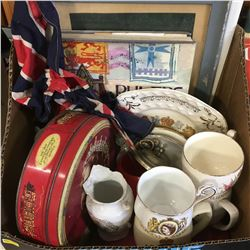 Tray Lot: Royalty / Monarchy Collectibles (China, Tins, Pictures, Book, British Support Flag)