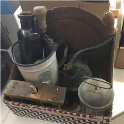 Box Lot: Special Export Ware Jug/Spout, Arcade Crystal Grinder, Wood Cutting Board, Butter Press, Bo