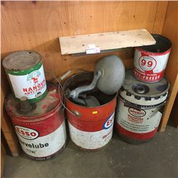 Oil & Gas Tins : Variety Sizes / Types & Service Station Bell/Light Frame