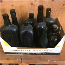 Box Lot: Collection of Green Embossed Bottles (Variety Sizes/Types)