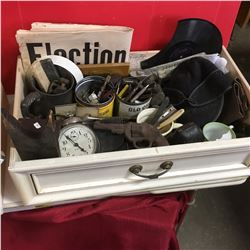 Tray Lot: Men's Combo (Hat, Shoes Cuffs, Clock, Shaving Items, Mustache Cups, Wallets, etc)