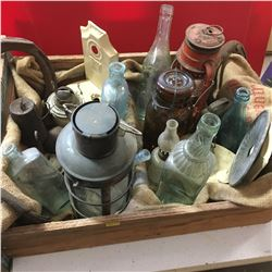 Tray Lot: Lamps, Blue Bottles, Weights, Horse Shoes, etc