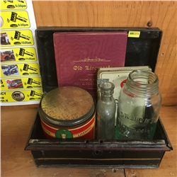 "Tin Cash Box with Contents: Jar ""Horlicks Malted Milk Racine, Wis USA"" & Old Liverpool Book, Turret"