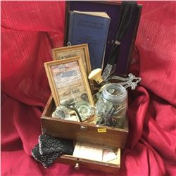 Wood Jewell Box with Contents: Skeleton Keys, Door Knobs, Invites to the Ball!, Frame Ads, Explorati