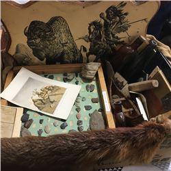 Box Lot: Native Assortment (Pelt, Wood Plaque Picture, Books, Bottles, Finds, etc!)