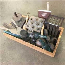 Tray Lot: Candle Moulds, Treenware, Silverware, Teal Bottles, etc