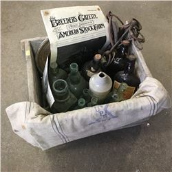 Silver Wood Dairies Wood Crate with Contents : Equestrian Items & Seafoam Bottles