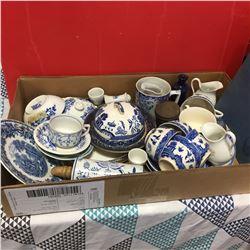 Box Lot: Blue Willow China