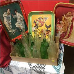 Tray Lot Pop Bottles: Coca Cola, Niagara Dry, Fresca, Mountain Dew; 7-UP + Coca-Cola Trays (3)