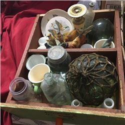 Wooden Tray Lot: Fish Net Float, Bird Ornaments, Jars, etc