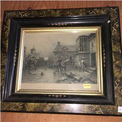 "Framed Print (15"" x 13""): ""GunPowder Plot: The Conspirators' Last Stand at Holbeach House, Nov. 7, 1"