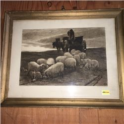 """Framed Print (15""""x12""""): """"Evening on the South Downs"""" (Painted by Edwin Douglas Etched by C.O. Murray"""