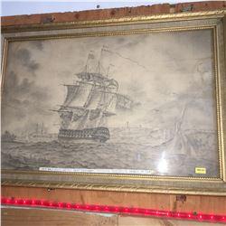 "Framed Pencil Drawing (27"" x 19""): ""Her Majesties Battle Ship"" ""Superb"" Entering Portsmouth Harbor i"