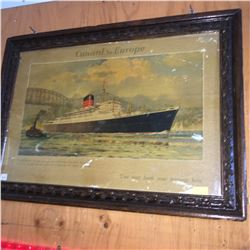 """Framed Print (21""""x 16""""): Cunard to Europe """"Saxonia"""" Lobby Ad """"You may book your passage here!"""""""