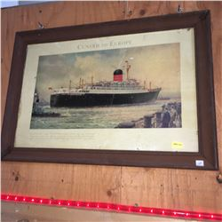 """Framed Print (21""""x 15""""): Cunard to Europe """"Saxonia and Ivernia"""" Lobby Ad"""