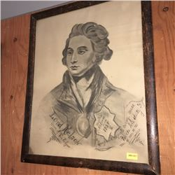 """Framed Charcoal Drawing (15""""x18""""): """"Lord Nelson Hero of Trafalgar"""" """"England expects every man to do"""