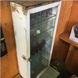 Painted White Glass Front & Glass Shelf Cabinet w/Green Glass Knob (No Contents)