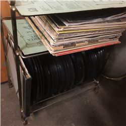 Brass Record Holder w/Record Albums