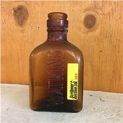 """Brown Embossed Bottle: """"Watkins"""""""