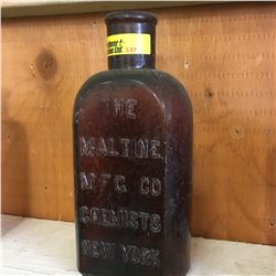 "Brown Embossed Bottle: ""The Maltine Mfg. Co.Chemists New York"""