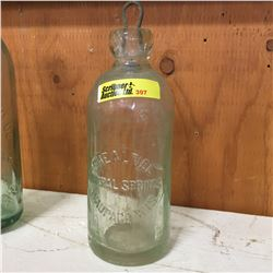 """Aqua Embossed Bottle: """"Shealtiel Mineral Springs Waupaca WIS"""""""