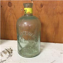 "Aqua Embossed Bottle: ""Mrs. Stewarts Bluing Minneapolis"""