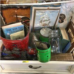 Tray Lot: Nautical Combo ! (Ship in a Bottle, Tins, Books, Ephemera, Clock, etc)