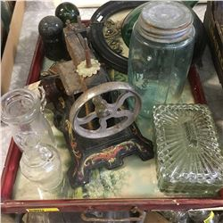 Tray Lot: Toy Sewing Machine, Insulators, Framed Picture, Bottles, Jar, etc