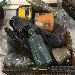 Tray Lot: Skates, Tobacco Tins, Bell, Bottles, etc