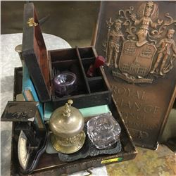 Tray Lot: Scale, Jewelry Box; Ink Well, Desk Bell, Royal Exchange Assurance Plaster Cast Plaque, etc