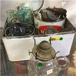 Tin w/ Pad Locks & Keys, Glass Bobbles & Stoppers, Finger Lamp (Cracked), etc